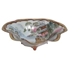 Japanese Footed Oval Bowl with Gold Trim and KUL Mark on Bottom