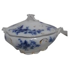 Flow Blue Rose Covered Vegetable/Casserole Bowl by W. H. Grindley & Co