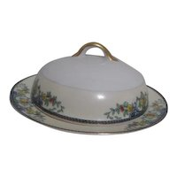 Round Covered Butter Dish with Gold Trim Small Flowers Made in Japan