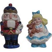 Fitz & Floyd Girl and Nutcracker Christmas Salt & Pepper Set