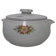 Hall's Rose White Covered Casserole with Platinum Trim
