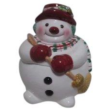Fitz & Floyd Christmas Snowman Candy Jar  Original Box