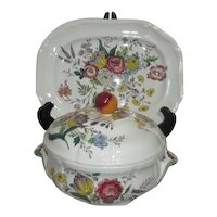 "Spode, Gainsborough Pattern 12"" Platter and Covered Vegetable Dish"