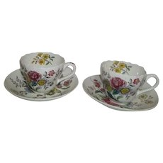 Spode Gainsborough Pattern Pair of Cups and Saucers