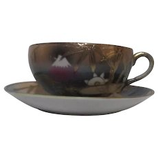 Japanese Cup and Saucer with Mt Fuji Gold Trim