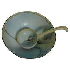 Nippon Mayonnaise Bowl with Matching Spoon Hand Painted