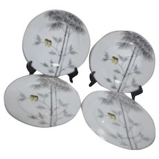 Kutani China Handpainted Platinum Trim Two Owls on Branch 4 Dinner Plates