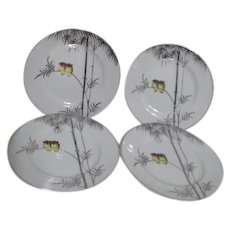 Kutani China Handpainted Platinum Trim Two Owls on Branch 4 Dessert Plates