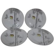 Kutani China Handpainted Platinum Trim Two Owls on Branch 4 Salad or Large Dessert Plates
