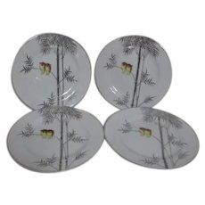 Kutani China Handpainted Platinum Trim Two Owls on Branch 4 Salad or Large Dessert Plates