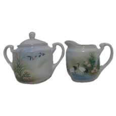 Asian Hand Painted Sugar and Creamer Set with Garden and Birds