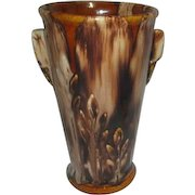 Multi-colored Browns Ceramic Vase with Wheat-style Designs