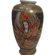 Japanese Satsuma Vase with Applied Decoration