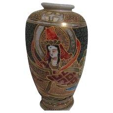 Japanese Satsuma Vase with Applied Decoration