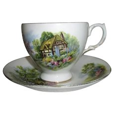 Royal Vale English Bone China Cottage Pattern Cup and Saucer