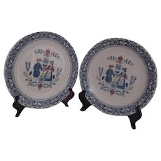 Pair of Hearts and Flowers Ironstone Plates Johnson Brothers