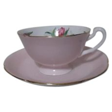 Royal Grafton Pink with Tulips Cup and Saucer Set