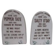 Tombstone Salt & Pepper Shakers Salty O'Day and Pepper Tate