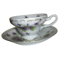 Cup and Saucer Set with Violets Gold Trim Made in Japan