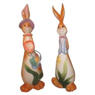 Pair of Tall Ceramic Easter Rabbits