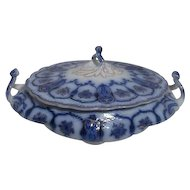 Johnson Bros. Eclipse Oval Flow Blue Covered Vegetable Bowl