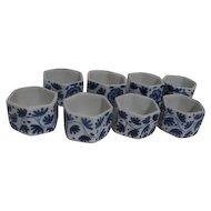 Set of 12 Blue and White Ceramic Napkin Rings