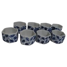Set of 12 Blue and White Ceramic Napkin Rings