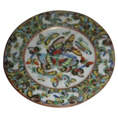 6 Inch Wide Chinese Porcelain thousand Butterfly Pattern Plate 19th Century