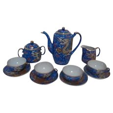 Japanese Blue Slipware Dragon Tea Set in Original Wood Box