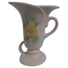 Hull Pale Yellow Small Vase with Pink and Yellow Roses
