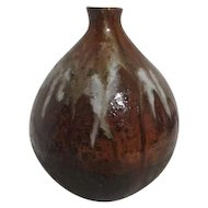 Multi-Brown Art Pottery Vase with Glazed Top half