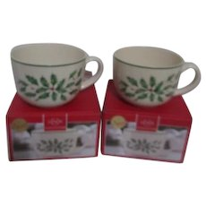 Pair of Large Lenox Christmas Mugs or Soup Bowls