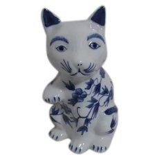 Blue and White Chinese Ceramic Cat