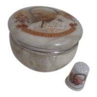 Alabaster Round Box with Matching Ceramic Thimble Pope John Paul II