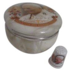 Alabaster Round Box with Matching Ceramic Thimble Pope John Paul II