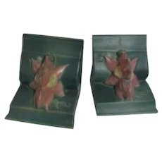 Roseville Pottery Clematis Bookends