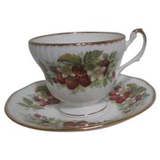 Rosina China Co Queen's Strawberry Pattern Cup and Saucer