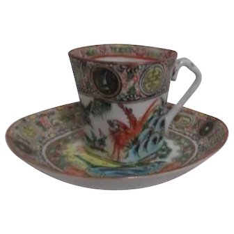 Antique Chinese Hand Painted Demitasse Cup and Saucer