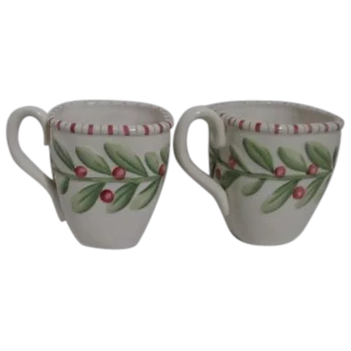Christmas Mugs.Fitz Floyd Pair Of Christmas Mugs With Holly Decor