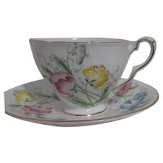 Royal Stafford Bone China Sweet Pea Cup and Saucer