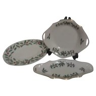 3 Piece Lenox (Christmas) Holiday Pattern Serving Dishes