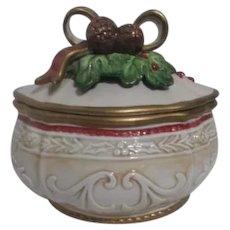Fitz & Floyd Christmas Ceramic Covered Box