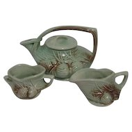McCoy Pottery Pine Cone Pattern Tea Set Pot Cream & Sugar