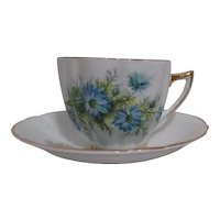 Royal Prince Bone China Cup and Saucer Blue Asters on White