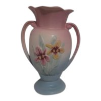 Hull Sample Vase in Matte Pink and Blue with Iris