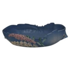 Roseville Foxglove Large Oval Blue Bowl