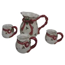 Fitz and Floyd Christmas Pitcher with Three Mugs/Cups