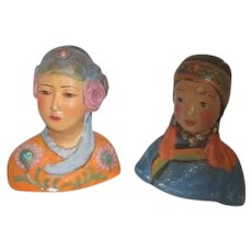 Pair of Antique Chalk Asian Figures