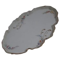 White Porcelain Boudoir Vanity Tray with Hand Painted Flowers, Gold Trim, Signed