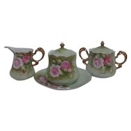 Lefton China Green Heritage Rose Covered Jam Pot with Under Plate Cream & Covered Sugar
